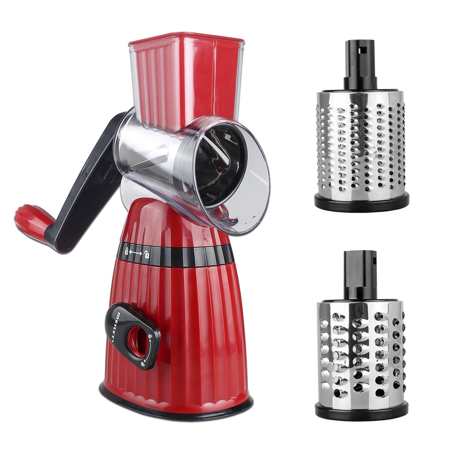 Vegetable Cheese Cutter Cylindrical Multi-function Shredder Mandoline Three-in-one Hand-operated Slicer(Red)