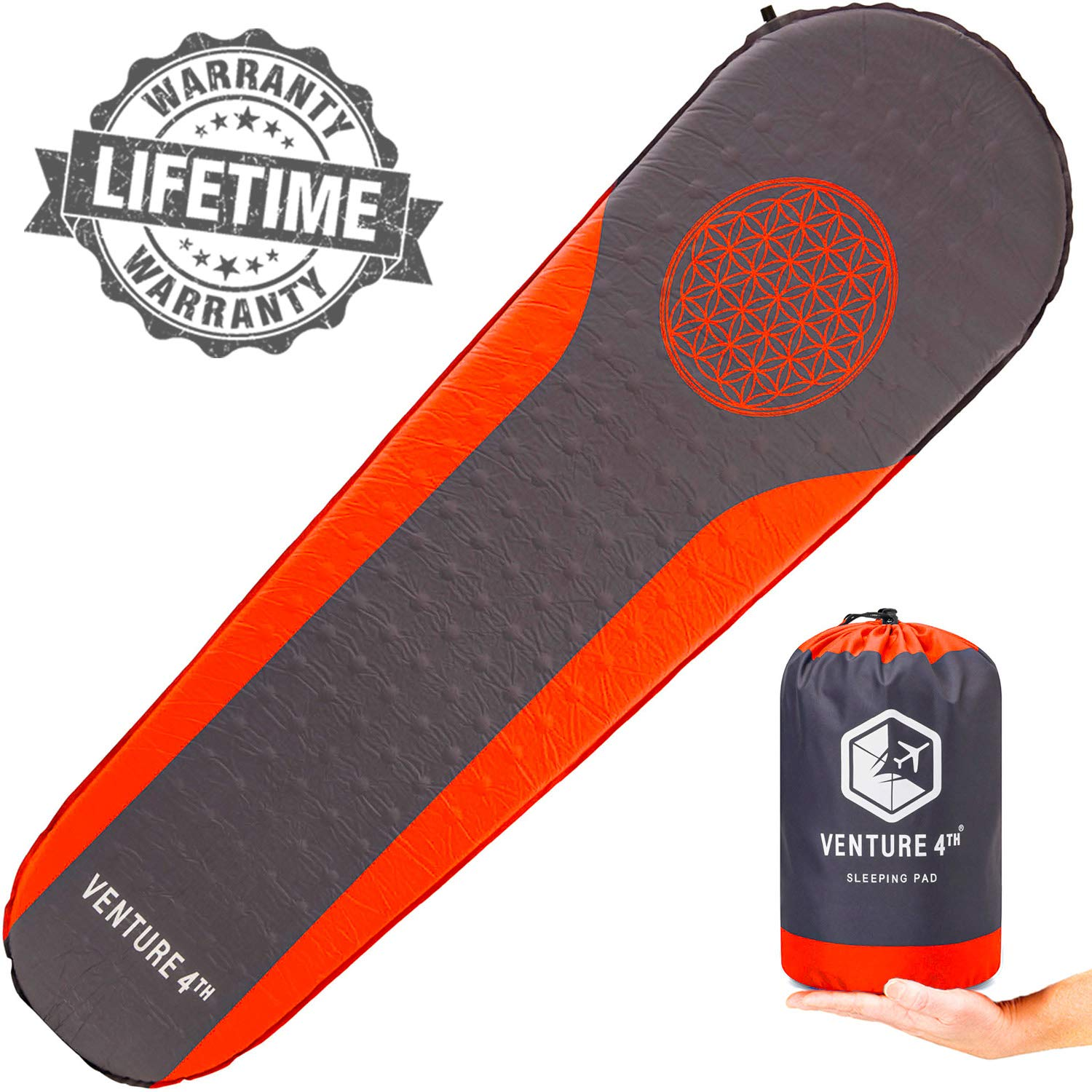 VENTURE 4TH Camping Sleeping Pad - No Pump or Lung Power Required - Warm, Quiet and Supportive Camp Mat for Hiking and Backpacking - Compact Camp Sleep Pad (Red/Gray) by VENTURE 4TH