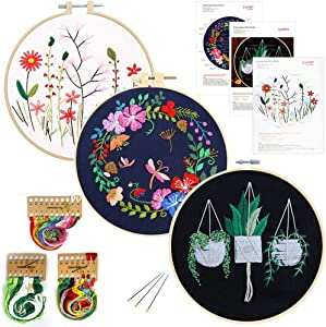 3 Pack Embroidery Starter Kit, with Pattern Plants and Instructions, Stamped Embroidery Kits, 3 PCS Embroidery Cloth, 1 Embroidery Hoop, Color Threads Tools Kit, for DIY Decor Living Room (Black)