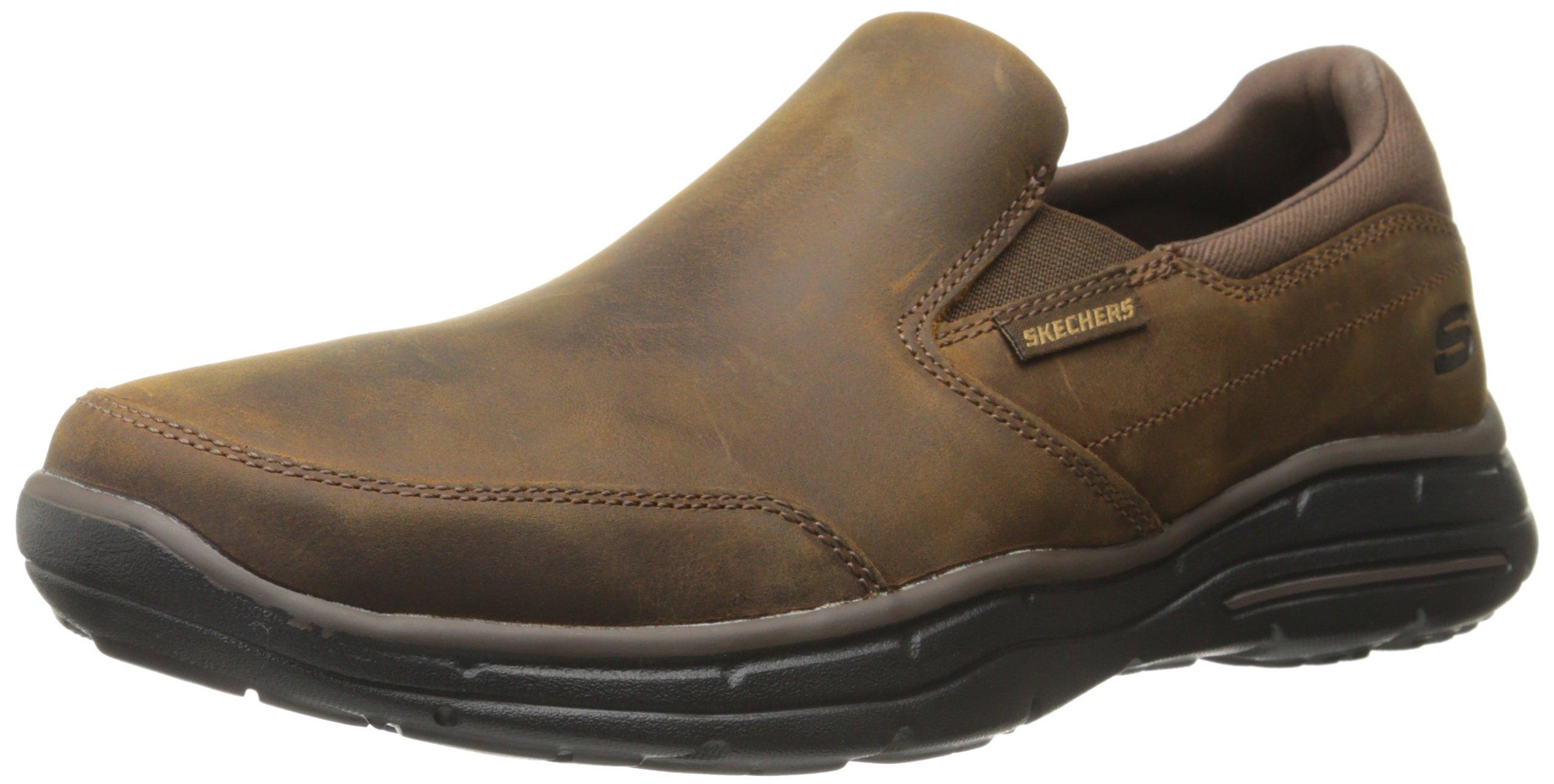 Skechers Men's Glides Calculous Slip-On Loafer,Dark Brown,10.5 3E US