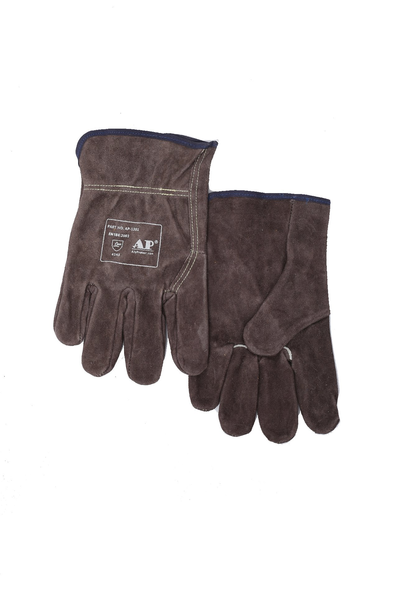 AP-1301 Brown Cowhide Leather Work Gloves with Elastic Wrist for Men & Women size XL by AP