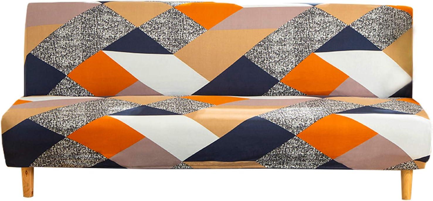 Mingfuxin - Funda protectora para sofá-cama sin reposabrazos, de poliéster y elastano, elástica y plegable, para sofá de 3 plazas