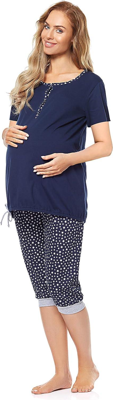 Be Mammy Damen Umstands Pyjama mit Stillfunktion BE20-246