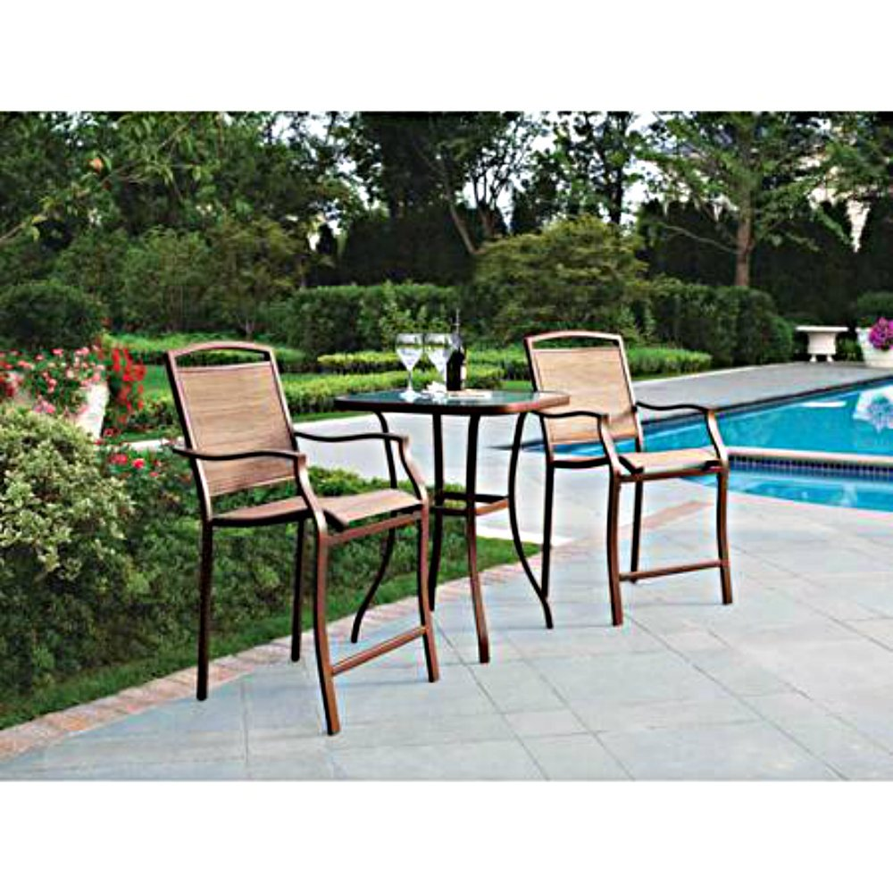 3 PC HIGH TOP BISTRO TABLE CHAIRS SET ~ SLINGBACK MATERIAL COMFORTABLE Mainstays