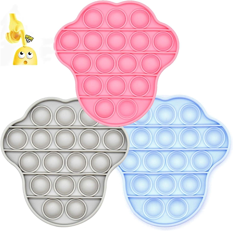 YOUMORE 4PCS Push Pop Fidget Toy Cute Bear Shape Push Pop Bubble Sensory Fidget Toy Stress Reliever Autism Toy Press and Beat Bubbles to Relieve Anxiety