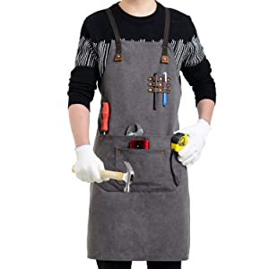 Flipzon Work Apron for Men Women Heavy Duty Canvas Leather Mens Apron Shop Apron Woodworking Apron with Tool Pockets,Smart Cross-Back Straps Design,Adjustable S to XXXL (Grey)