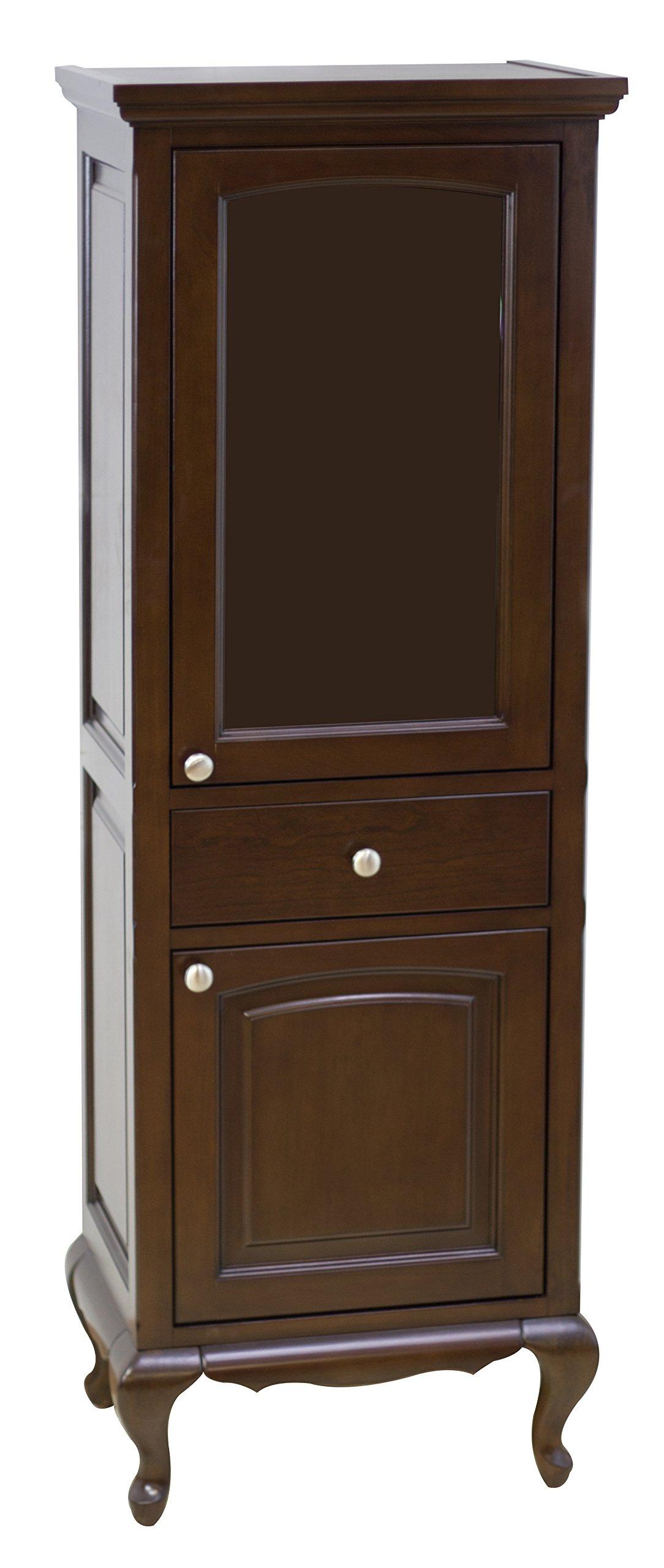 American Imaginations AI-104-57 Traditional Birch Wood-Veneer Linen Tower, 21.5-Inch x 63-Inch, Walnut Finish