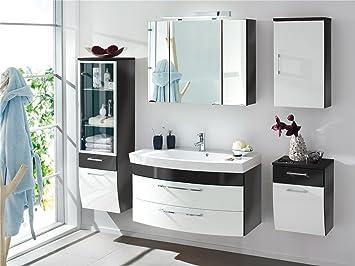 badezimmer set in anthrazit weiss bestehend aus einem spiegelschrank hochschrank unterschrank hangeschrank