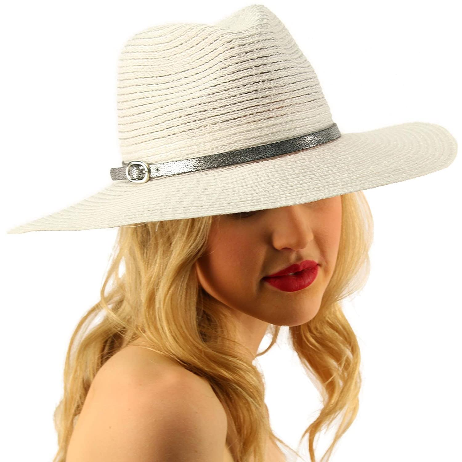 1f6499f66a73 Summer Metallic Light Airy Crushable Fedora Panama Derby Beach Pool Sun Hat  White: Amazon.in: Clothing & Accessories