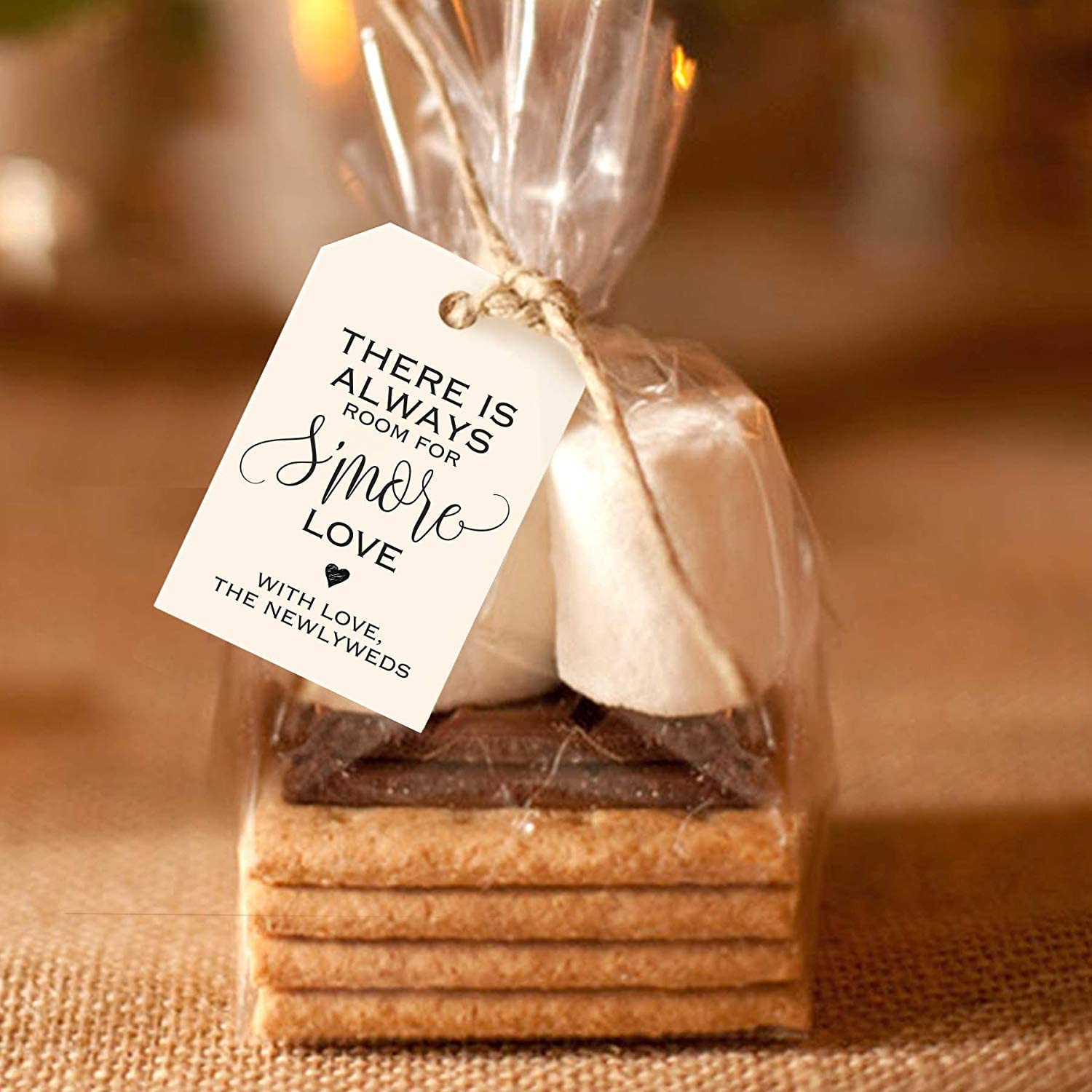 Bliss Collections S'More Love Favor Tags for Wedding Reception, Unique Table Setting Favor Idea, 2x3 inches, Pack of 50