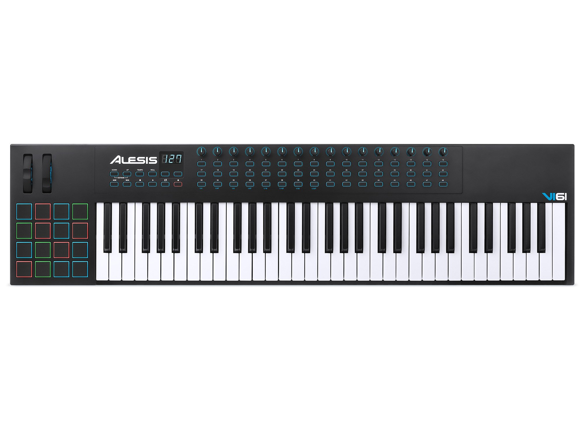 Alesis VI61 | Advanced 61-Key USB MIDI Keyboard & Drum Pad Controller (16 Pads / 16 Knobs / 48 Buttons) by Alesis