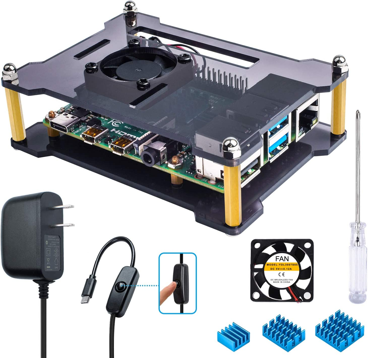 Pi 4 Board Not Included 3A Power Supply Open-Air Case for Raspberry 4 Model b // 4 B Miuzei Raspberry Pi 4 Case with Fan 3 pcs Heatsinks