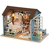Casa de boneca DIY, kit de casa de boneca em miniatura DIY Mini realista 3D Casa de madeira artesanal com mobília Festival de