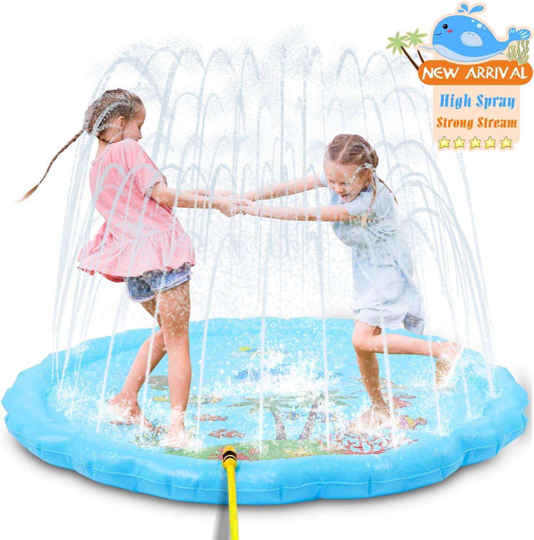 NextX Splash Pad,175CM/68Aspersor de Juegos de Agua para Niños PVC Splash Play Mat Almohadilla de Juego de Agua para Niños para Jardín de Verano Juguetes Acuático Actividades Familiares(Azul): Amazon.es: Juguetes y juegos