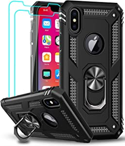 LeYi iPhone Xs Max Case (Not Fit iPhone Xs) with Tempered Glass Screen Protector [2 Pack] for Women Men, [Military Grade] Protective Phone Case with Ring Kickstand for iPhone Xs Max / 10Xs Max, Black