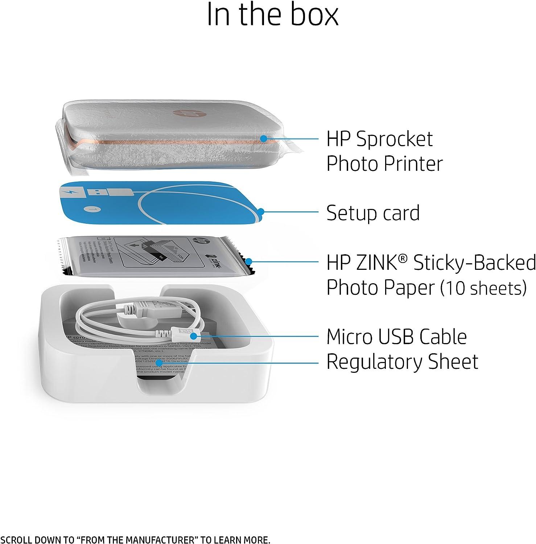 HP Sprocket - Impresora fotográfica portátil (impresión sin Tinta ...