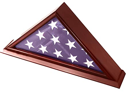 DECOMIL Solid Wood Elegant 5 x 9.5 Flag Display Case for Burial Funeral Veteran Flag, Cherry