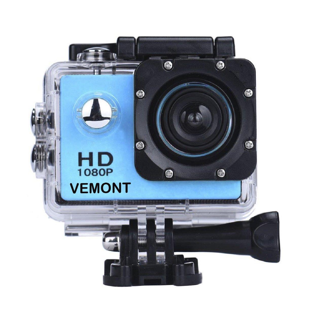 Vemont 1080p 12MP Action Kamera Full HD 2, 0 Zoll Bildschirm 30m/98 Fuß Wasserdichte Sports Kamera mit Zubehör Kits für Fahrrad Motorrad Tauchen Schwimmen usw (Schwarz)
