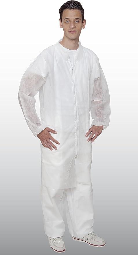 Vellón Bata con cremallera – 50 Unidades – de – color blanco ...