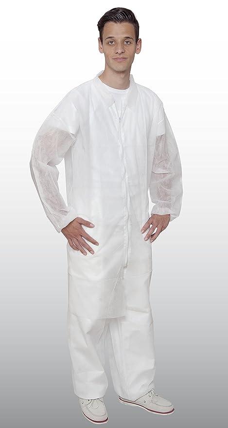 Vellón Bata con cremallera – 50 Unidades – de – color blanco – calidad profesional –