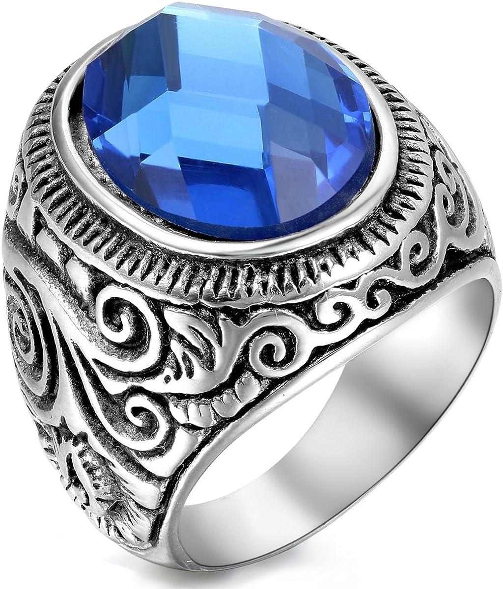 Flongo Anillo Mujer/Hombre Acero Inoxidable, Estrella del mar Piedra Azul Cristal, Estilo Retro Grande