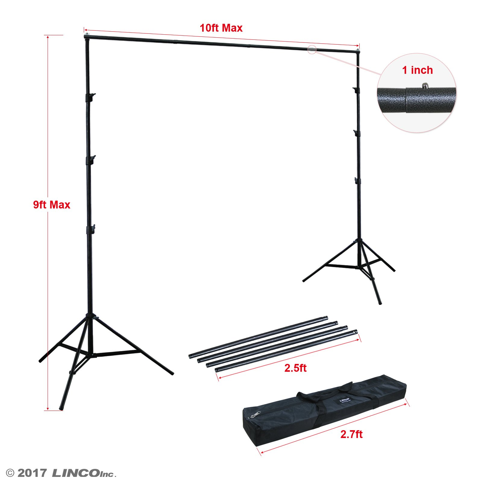 Linco Lincostore 9x10 ft Photography Photo Backdrop Stand Background Support System Kit 4154-4236 by Linco