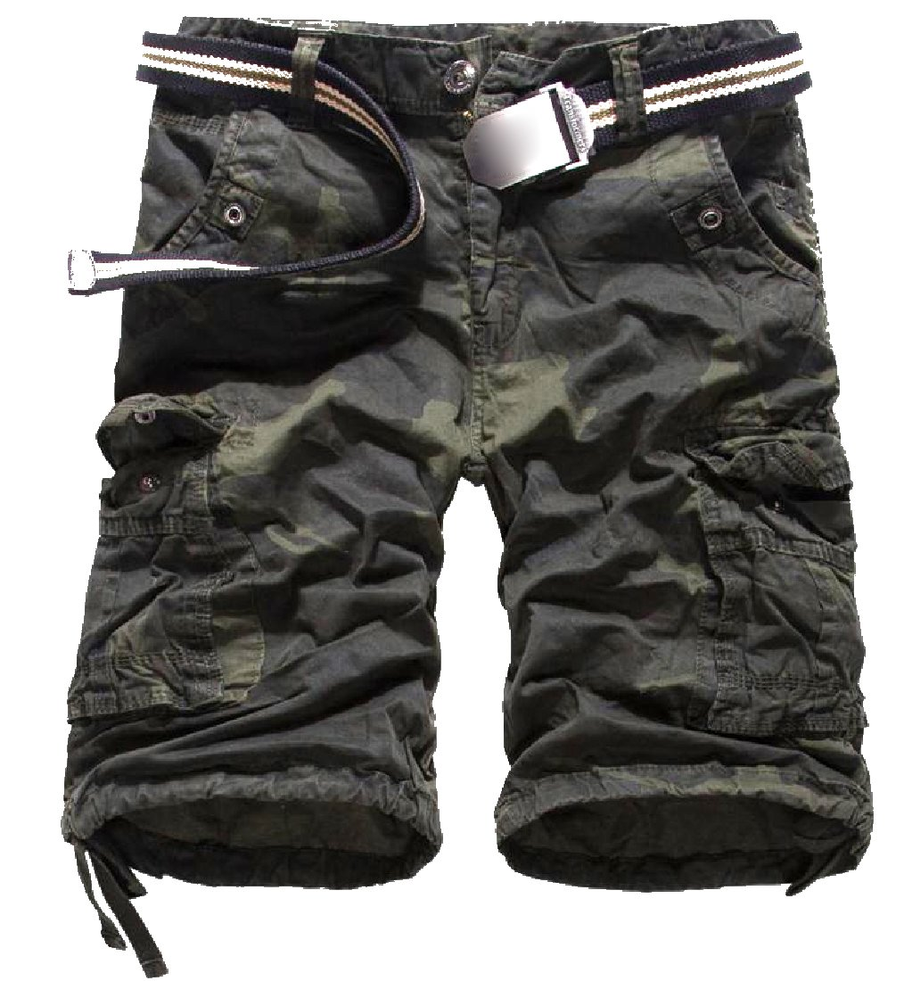 Vska Men's Large Size Multicamo Combat Fine Cotton Slouchy Shorts 1 29