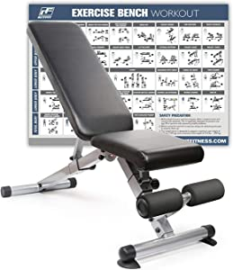 RitFit Adjustable/Foldable Utility Bench for Home Gym, Weightlifting and Strength Training - Bonus Workout Poster with 36 Total Body Exercises