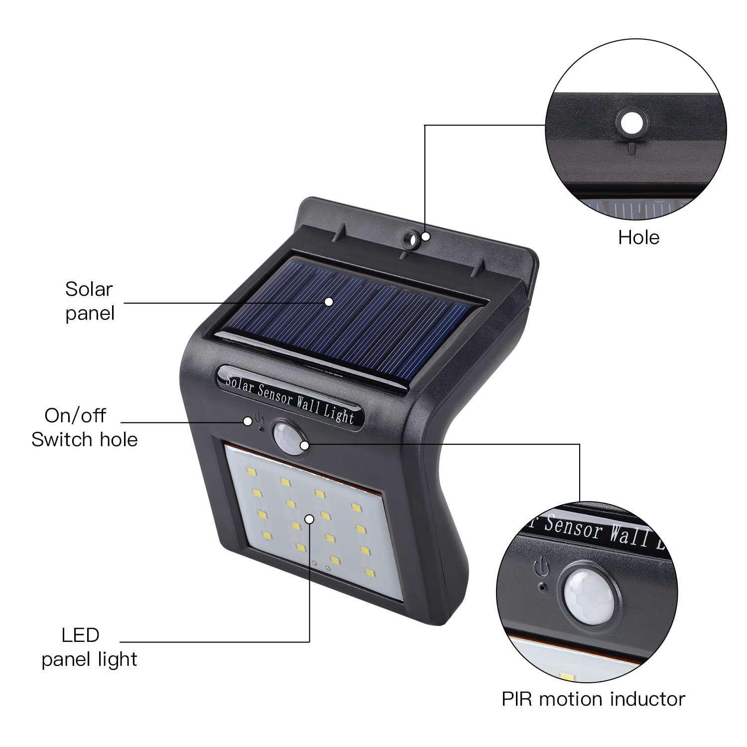 Zoeson 16 Led Solar Light Motion Sensor Night Wireless Wickes Pir Wiring Instructions Waterproof Auto On Off Security Garden Wall Lamp Lighting