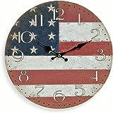 levandeo Orologio da parete in legno 29cm–Motivo: America USA bandiera bandiera Stars and Stripes–Orologio da cucina–Orologio da polso al quarzo orologio