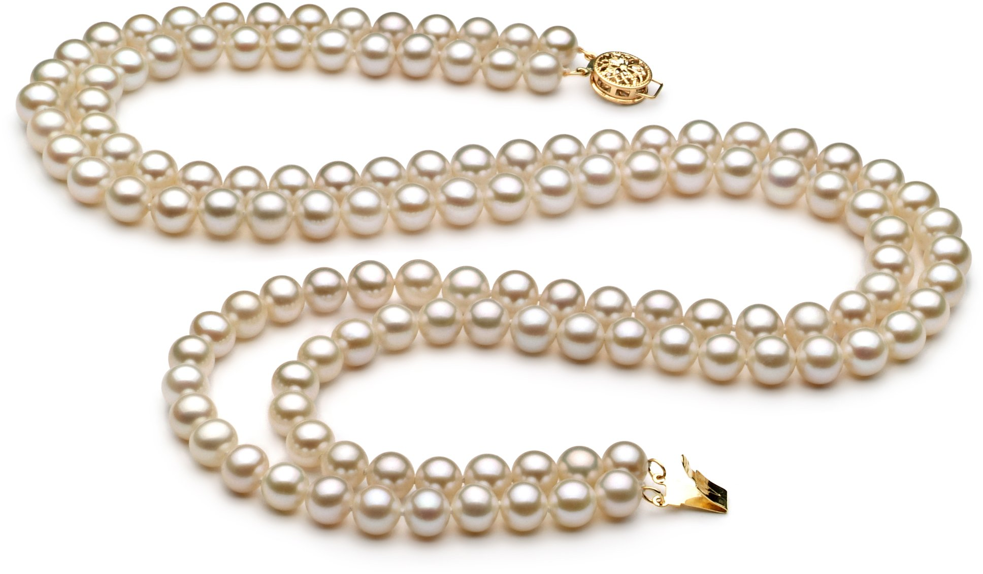 PearlsOnly - Liska White 6-7mm Double Strand AA Quality Freshwater Cultured Pearl Set-18 in Princess length by PearlsOnly (Image #2)