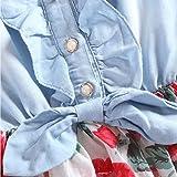 MingAo Little Girls Denim Floral Print Sleeveless