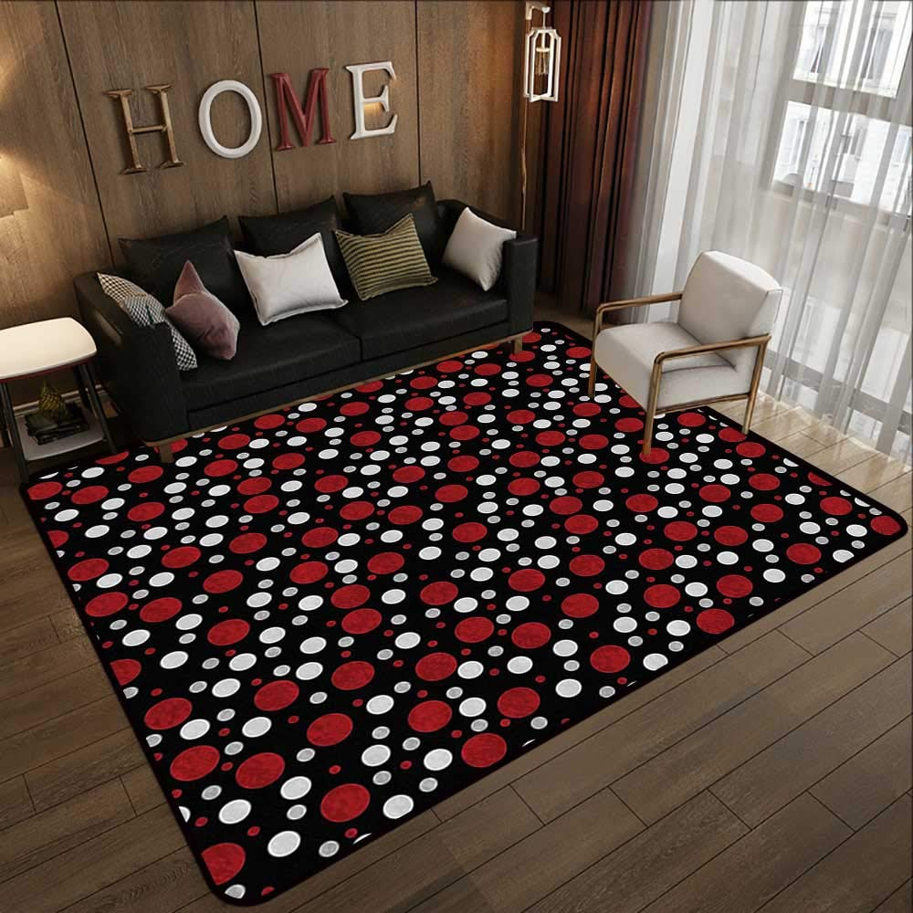 Pattern05 59 x 71 (W150cm x L180cm) Low-Profile Mats,Red and Black,pink Swirls Ivy Plants Dark Mysterious Forest Themed Pattern,Dark Army Green 63 x 94  Bathroom Floor mats