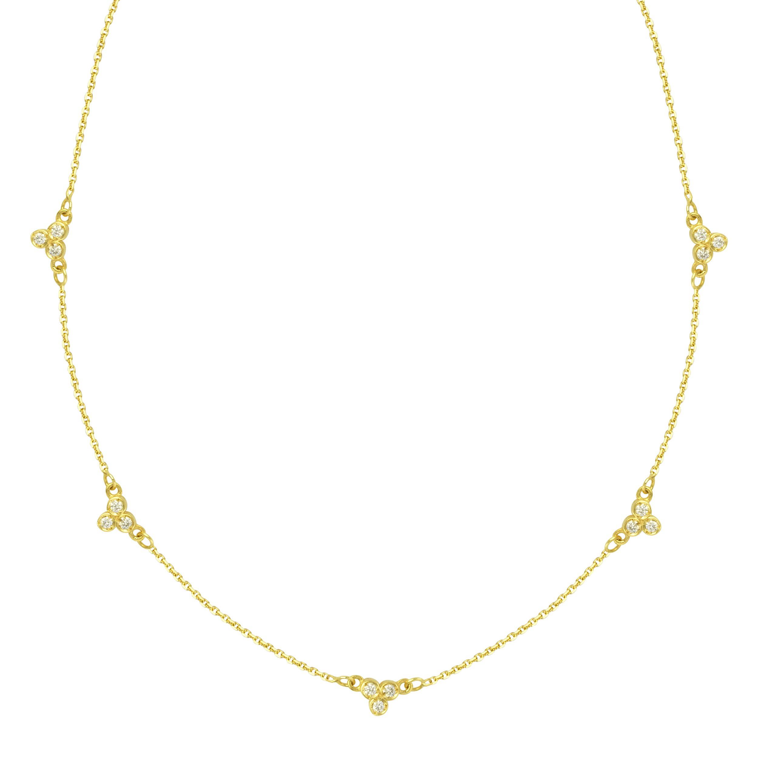 14k Yellow Gold Station Necklace with Diamond Accents Adjustable Length