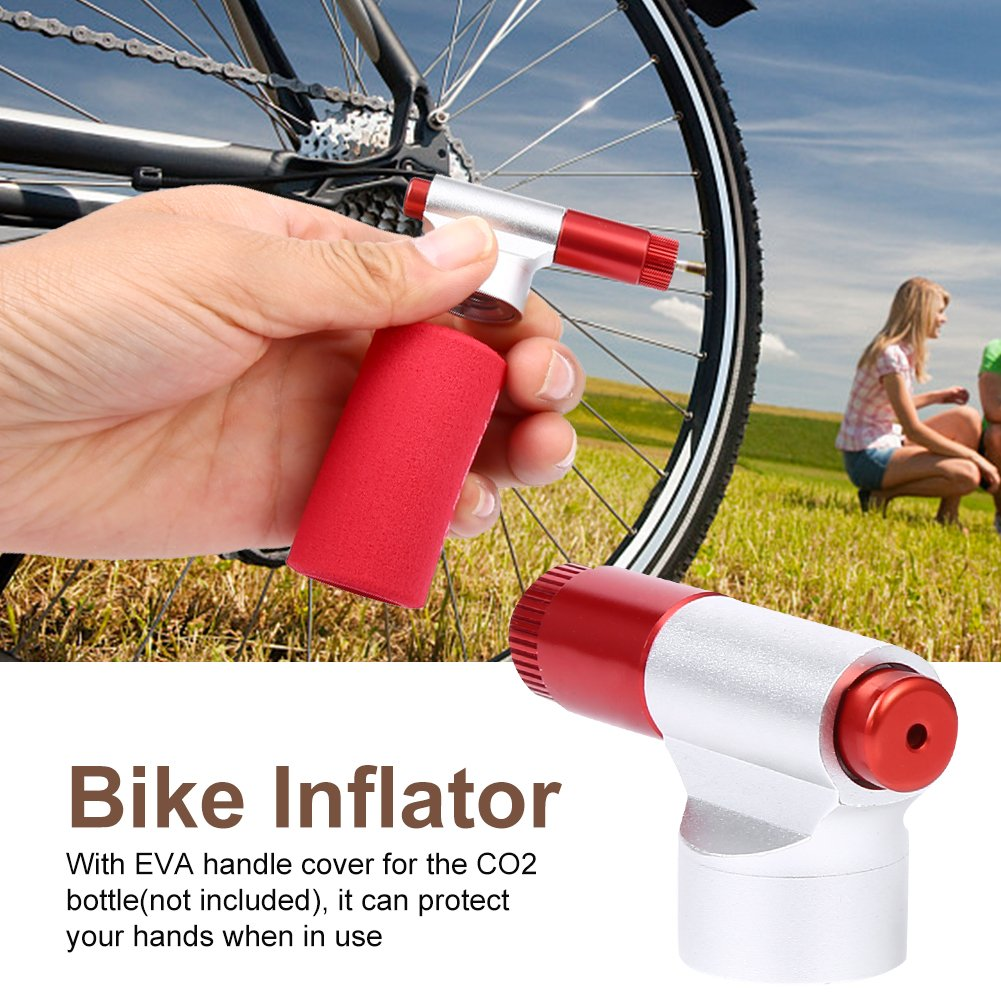Dilwe Boca del Inflador de Bicicletas Bomba Ligero de Neum/ático de Bicicleta de Aleaci/ón de Aluminio con Funda Aislante No Incluye Cartuchos de CO2