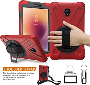 Galaxy Tab A 8.0 Case for Kids 2017 with Shoulder Strap, TSQ Soft Silicone Hard Bumper Dropproof Kidsproof Durable Case with Swivel Stand/Hand Strap for Tab A 8.0 SM-T380/T385 for Boys Girls,Red