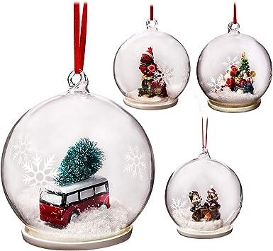 4 Stück Weihnachtsbaumkugeln aus Glas transparent gold ca 8 cm Christbaumkugel