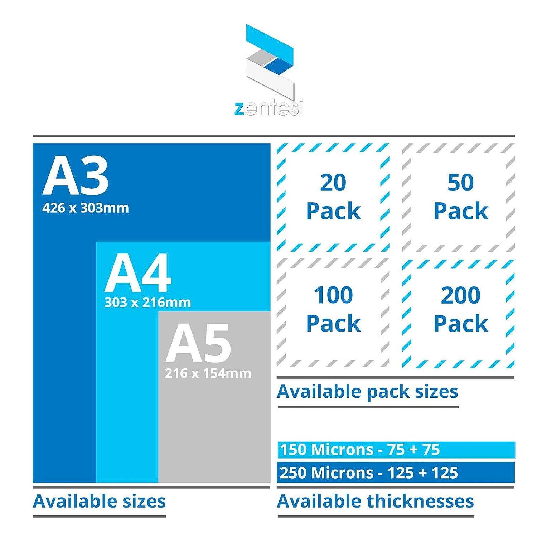A3 Size: 303 x 426mm Transparent High Gloss 150 micron 75 + 75 micron Fogli di carta laminata ultra lucida per plastificatrici formato A3