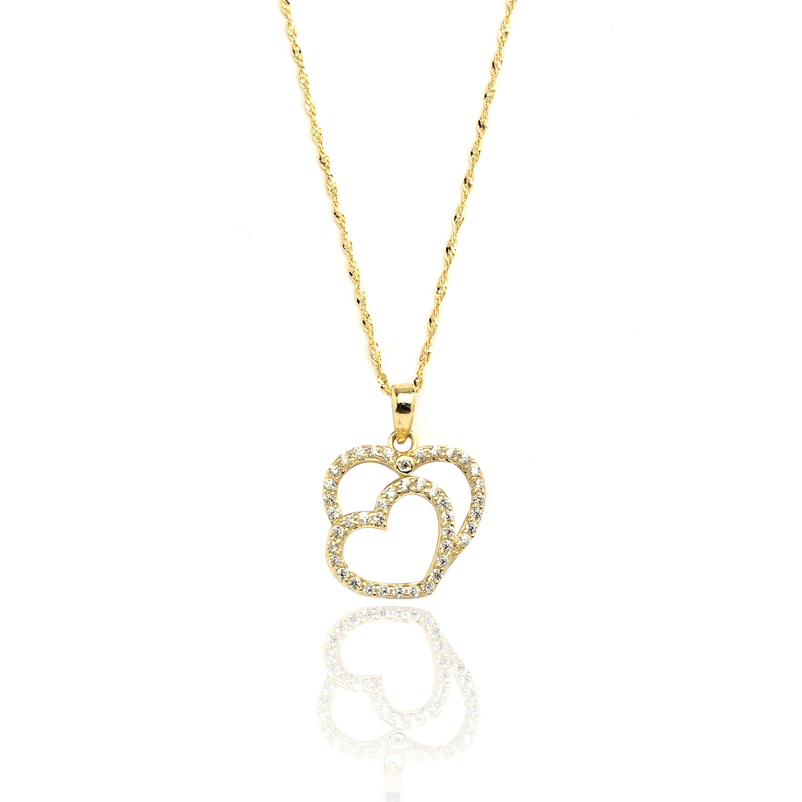 18'' 10k Yellow Gold Two Hearts CZ Pendant Necklace with Singapore Chain for Women and Girls