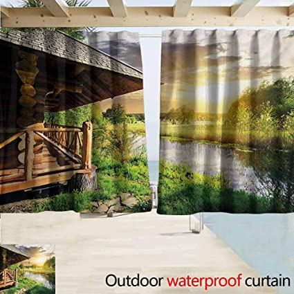 Amazon.com: Balcony Curtains,Nature Wooden Country House by ...