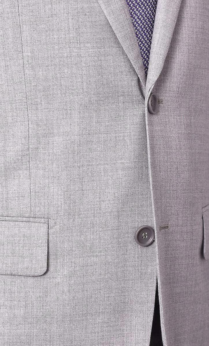 Mens 46L Raphael Slim Fit Solid Medium Gray Two Button Suit