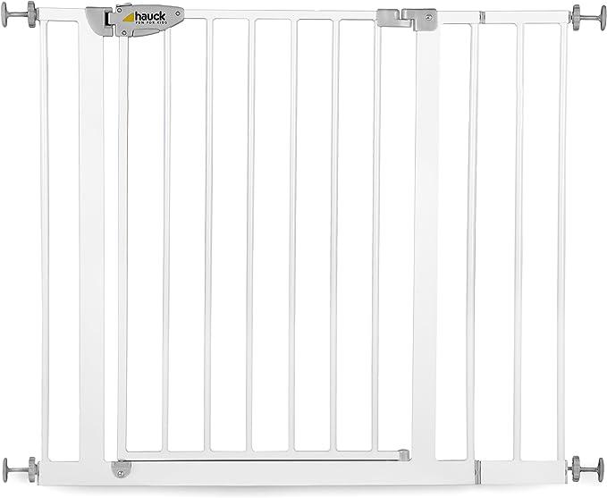 Hauck - Barrera de sHauck - Barrera de seguridad con cierre, 75-95 cm, color plata/gris: Amazon.es: Bebé