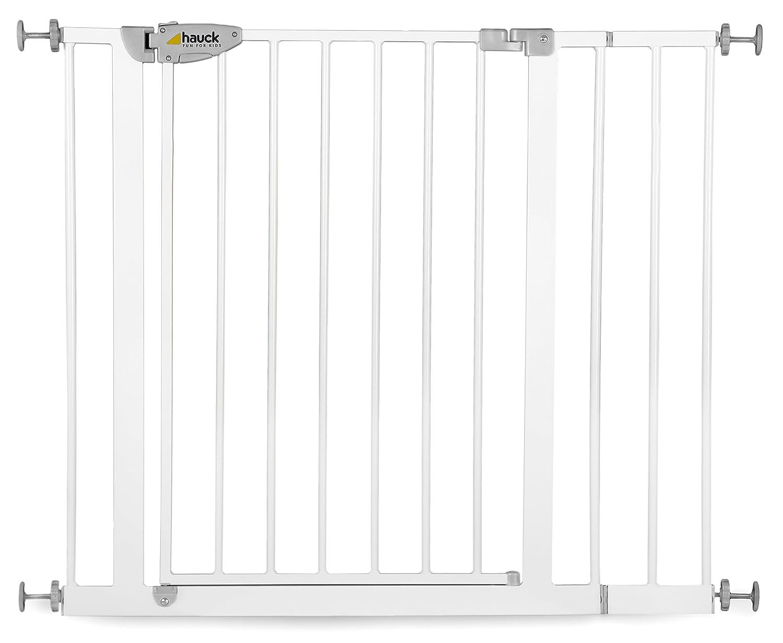 Hauck Squeeze Treppen- / Tür- schutzgitter mit 7cm Verlängerung für Kinder, für Hunde und Katzen, 75-88 cm Befestigung ohne Bohren zum Klemmen mit Tür, grau/silber für Hunde und Katzen 597125_7cm