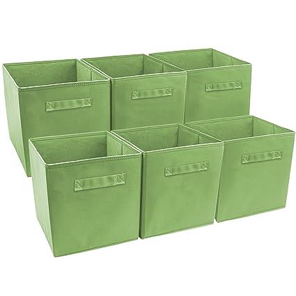 Sorbus Foldable Storage Cube Basket Bin Green Pack of 6  sc 1 st  Amazon.com & Amazon.com: Sorbus Foldable Storage Cube Basket Bin Green Pack of ...