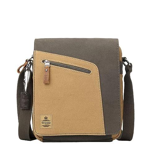 340b9ce315cfa5 TRP0431 Troop London Heritage Canvas Leather Shoulder Bag, Across Body Bag,  Small Travel Bag