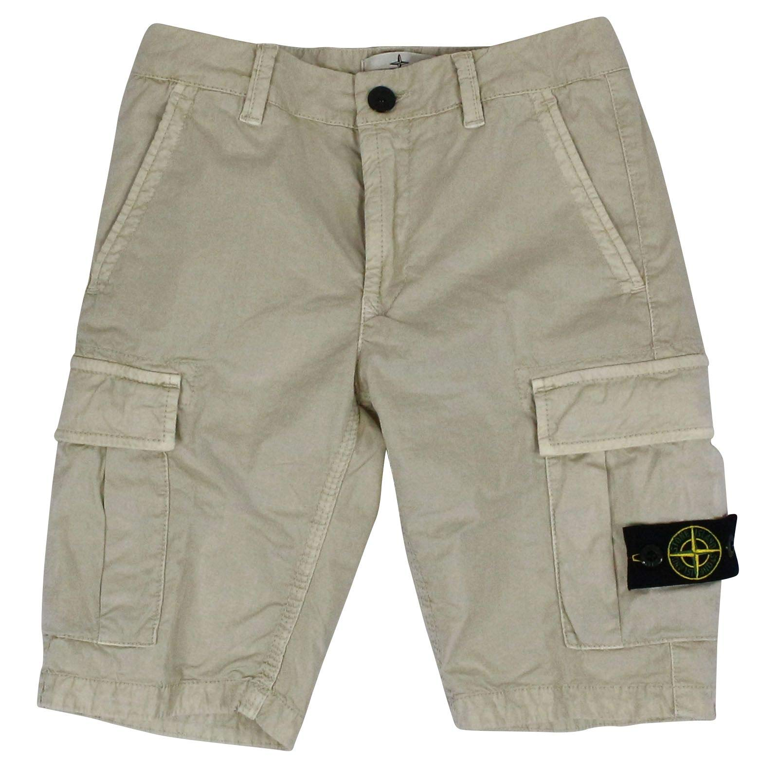 Stone Island Boys 7016L0909v0197 Beige Cotton Shorts
