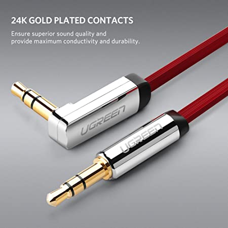 UGREEN Cable 3.5mm Plano Delgado Auxiliar Audio Estéreo con Conector ángulo Recto para iPhone6,5S,5, iPad, Smartphones, Tablets y Reproductores Multimedia, ...