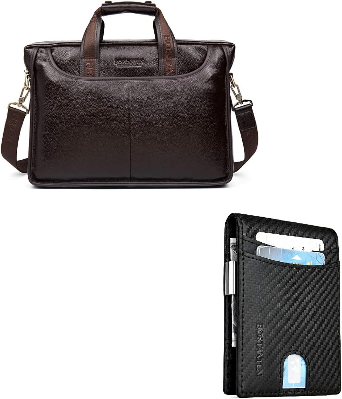 BOSTANTEN Leather Briefcase Laptop Case Handbag Business Bags for Men Brown+BOSTANTEN Leather Wallets for Men Bifold Money Clip Slim Front Pocket RFID Blocking Card Holder Black