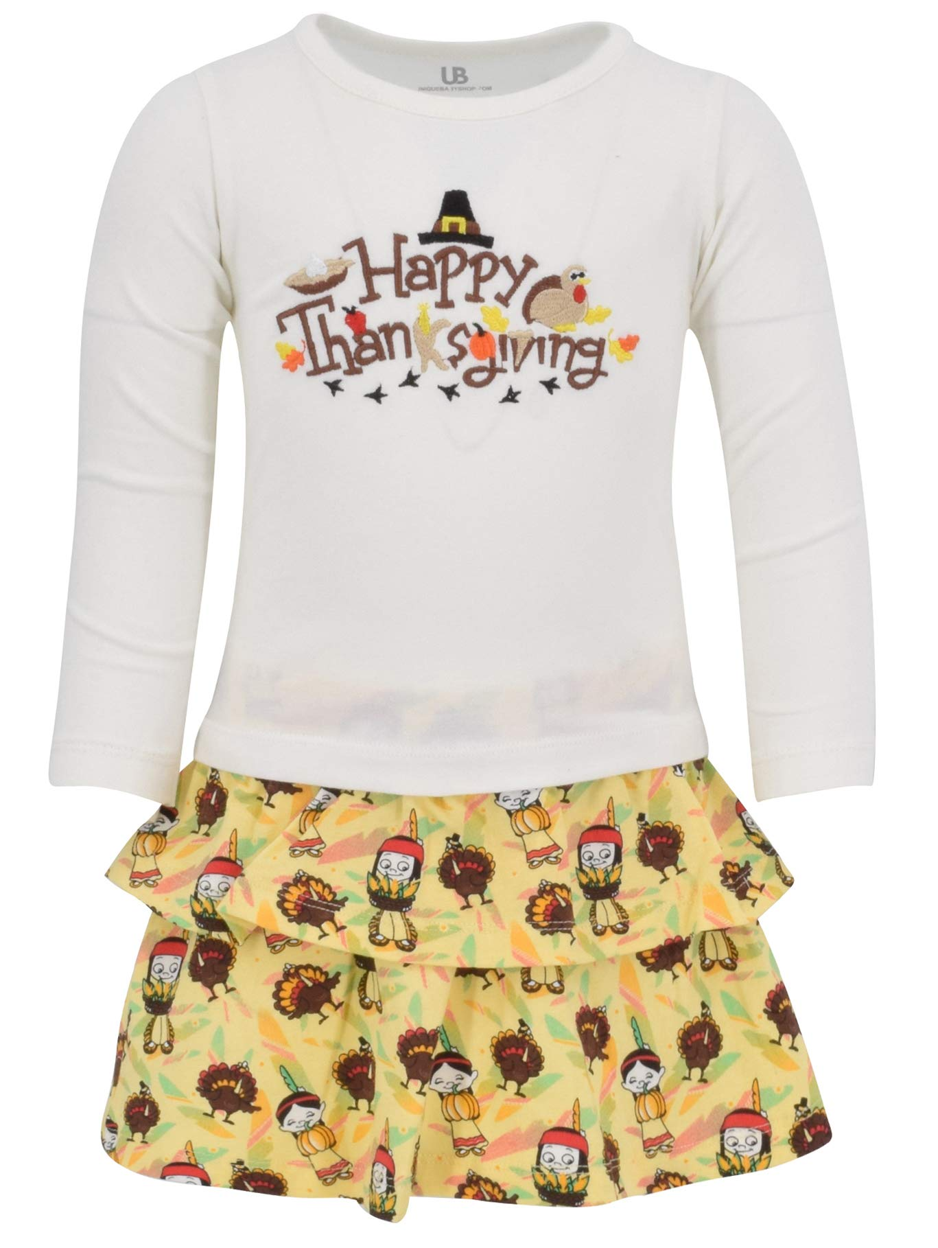 Unique Baby Girls Happy Thanksgiving Layered Skirt and Shirt Fall Outfit (5)