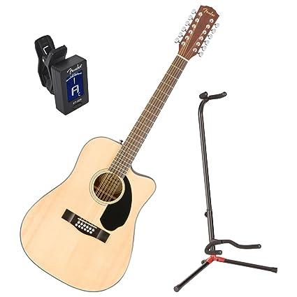 Fender cd-60sce Natural de 12 cuerdas acústica guitarra eléctrica w/stand y sintonizador